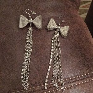 Silver and rhinestone earrings